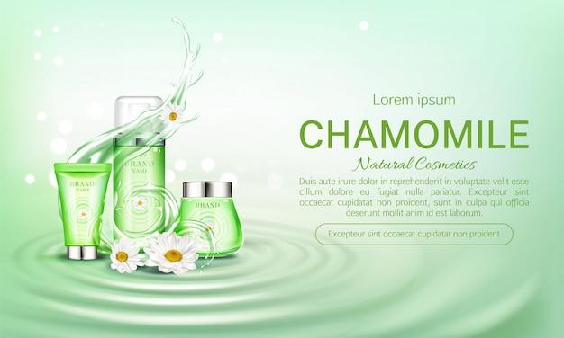 Banner di bottiglie cosmetici camomilla eco Vettore gratuito