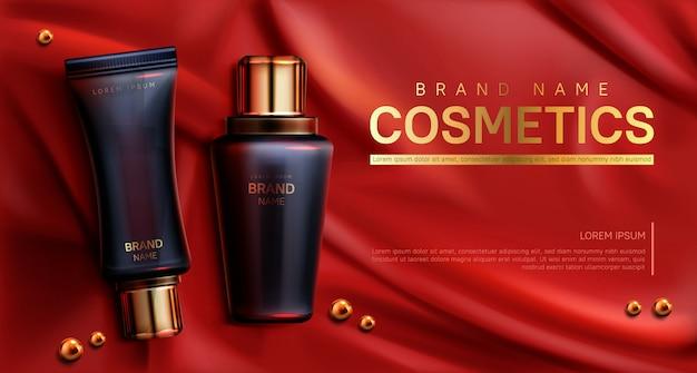 Banner di bottiglie di cosmetici. cura del corpo bellezza Vettore gratuito