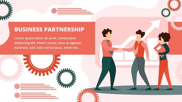 Banner di buon affare. handshaking dei soci commerciali. Vettore Premium