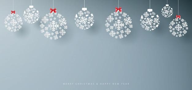 Banner di buon natale e felice anno nuovo. Vettore Premium