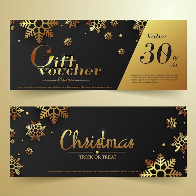 Banner di buono regalo di natale nero e oro. Vettore Premium
