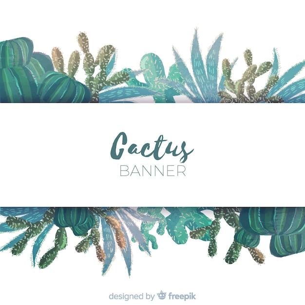Banner di cactus dell'acquerello Vettore gratuito