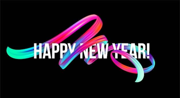 Banner di capodanno 2019 con un colorato pennellata a olio o vernice acrilica Vettore Premium