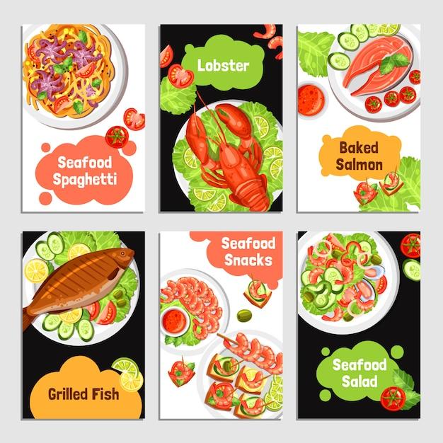 Banner di carte di frutti di mare Vettore gratuito