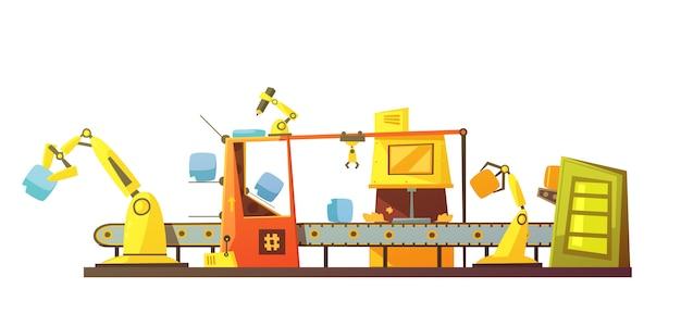 Banner di cartoon retro linea automatica stock Vettore gratuito