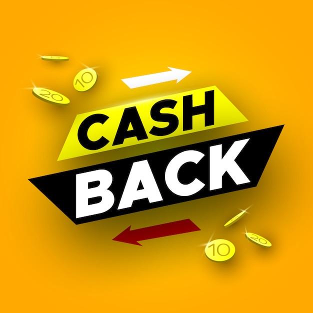 Banner di cashback con monete. illustrazione. Vettore Premium