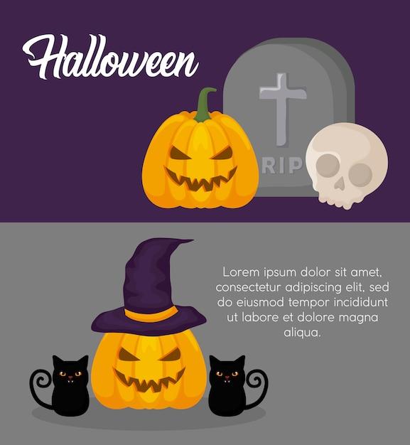 Banner di celebrazione di halloween Vettore gratuito
