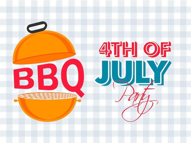 Banner di celebrazione festa di bbq 4 luglio Vettore Premium