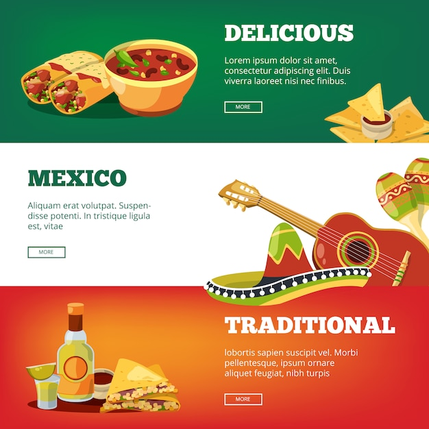 Banner di cibo messicano. immagini tradizionali di vettore di maracas della chitarra del peperoncino rosso della salsa di peperoncino rosso della salsa di tequila di quesadillas della cucina tradizionale nazionale Vettore Premium