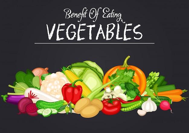 Banner di cibo sano impostato con design piatto di verdure Vettore Premium