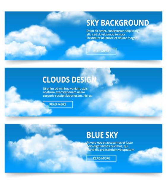 Banner di cielo nuvoloso. modello blu di pomeriggio di condensazione del tempo realistico delle nuvole con il posto per il vostro testo Vettore Premium
