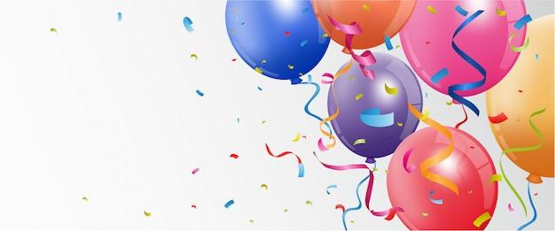Banner di compleanno e celebrazione Vettore Premium