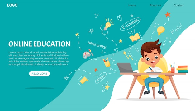 Banner di concetto di e-learning. formazione online. ragazzo di scuola sveglio che per mezzo del computer portatile. studia a casa con elementi disegnati a mano. corsi web o tutorial, software per l'apprendimento. illustrazione piatta dei cartoni animati Vettore Premium