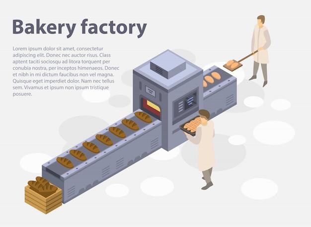 Banner di concetto di fabbrica di panetteria, stile isometrico Vettore Premium