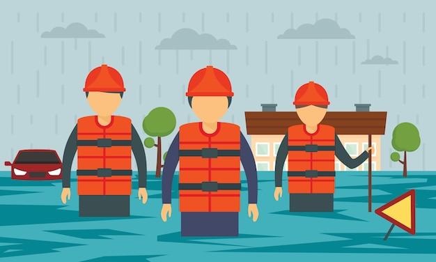 Banner di concetto di inondazione Vettore Premium