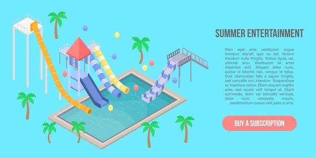 Banner di concetto di intrattenimento estivo, stile isometrico Vettore Premium