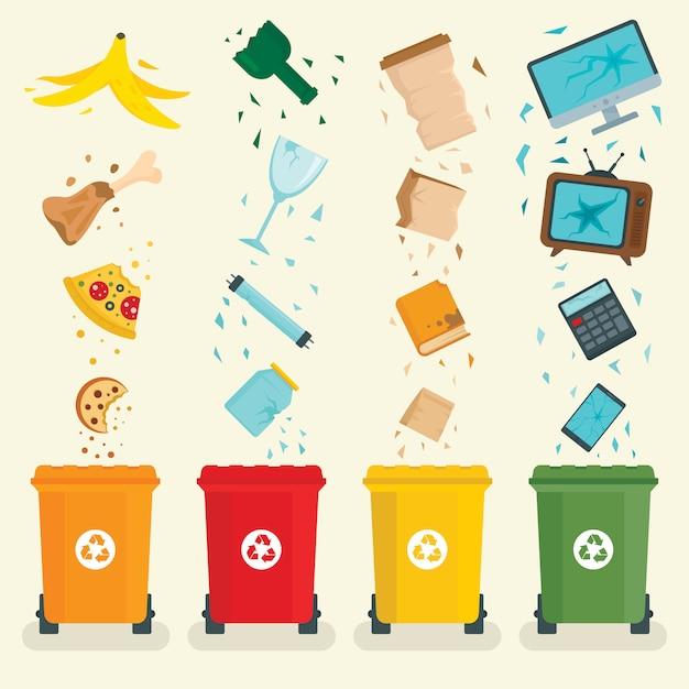 Banner di concetto di smistamento dei rifiuti Vettore Premium
