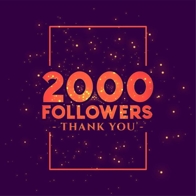Banner di congratulazioni di 2000 follower per i social network Vettore gratuito