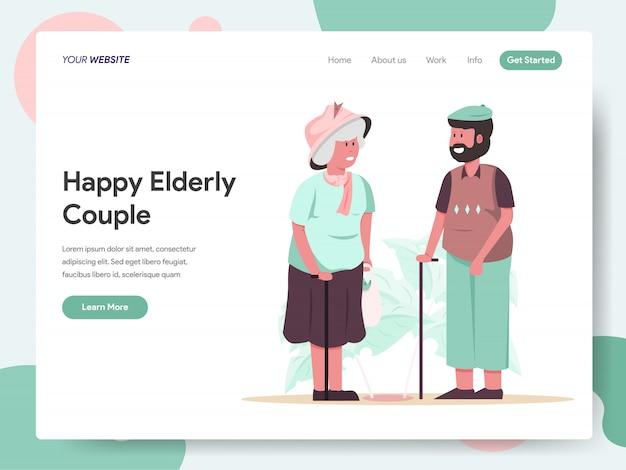 Banner di coppia di anziani felici per landing page Vettore Premium