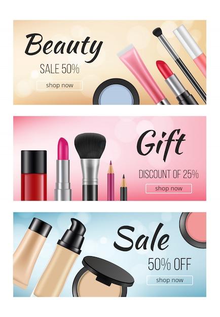 Banner di cosmetici. modello di progettazione di banner orizzontali con s di cosmetici donna Vettore Premium