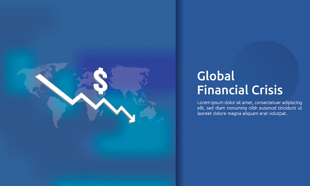 Banner di crisi finanza aziendale Vettore Premium