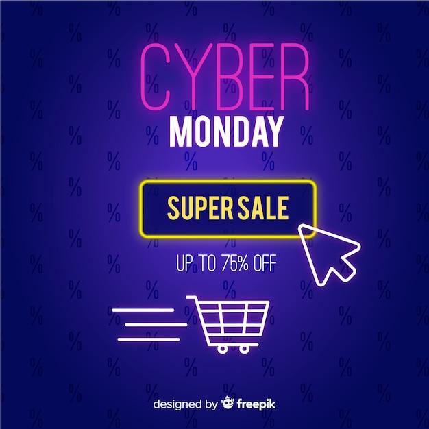 Banner di cyber lunedì design piatto Vettore gratuito