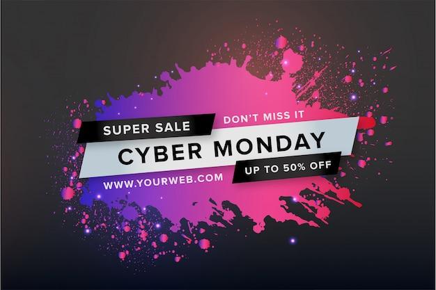 Banner di cyber monday con spruzzi colorati Vettore gratuito