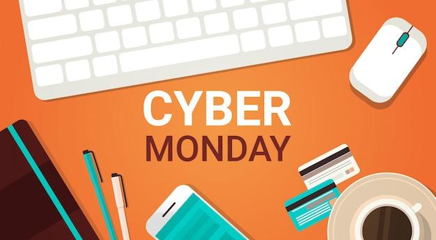 Banner di cyber monday con tastiera, mouse e smartphone per laptop Vettore Premium