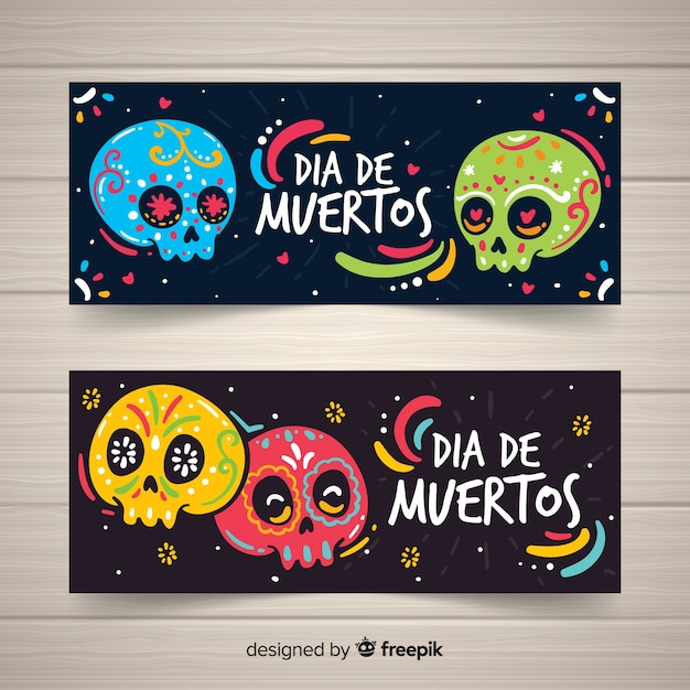 Banner di dãa de muertos disegnato a mano colorato Vettore gratuito