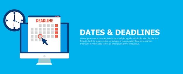 Banner di date e scadenze. computer con calendario, orologio e clessidra. Vettore gratuito