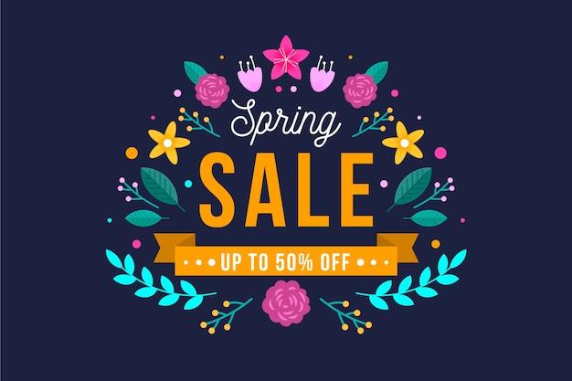 Banner di design piatto primavera vendita affare Vettore gratuito