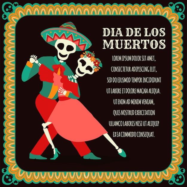 Banner di dia de los muertos con fiori messicani colorati Vettore Premium