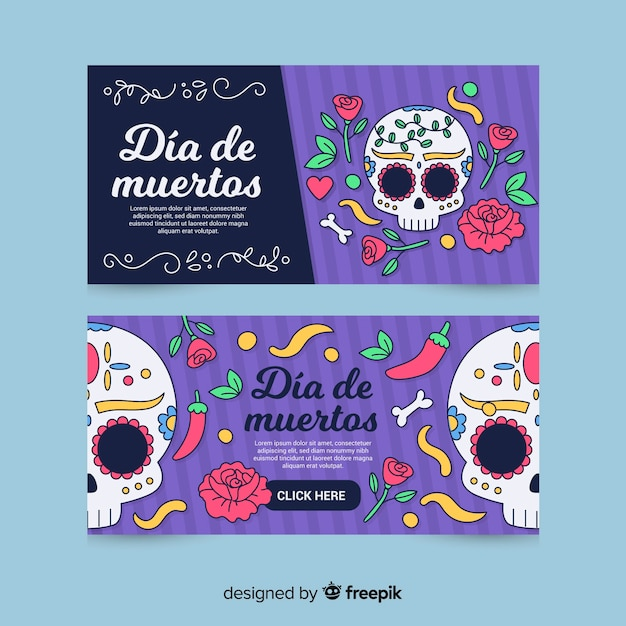 Banner di día de muertos disegnati a mano Vettore gratuito