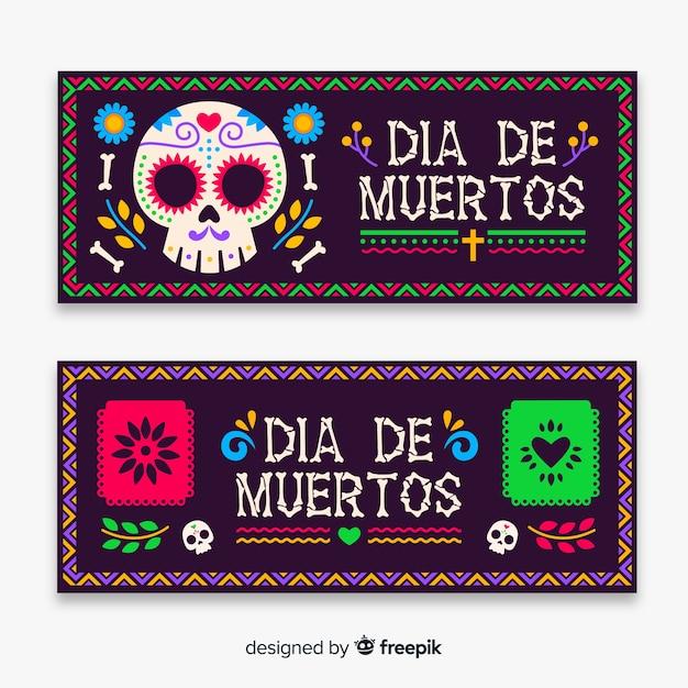 Banner di dia de muertos in design piatto Vettore gratuito