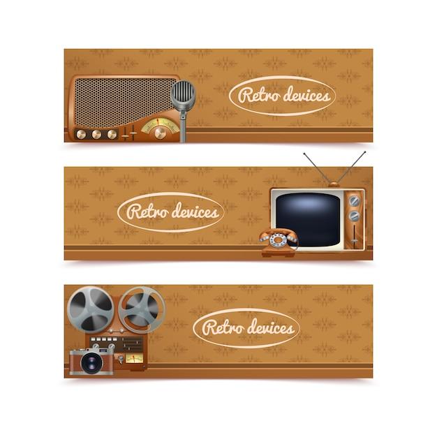 Banner di dispositivi retrò con vintage radio tv e macchina fotografica Vettore gratuito