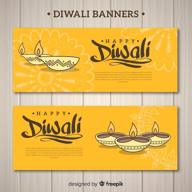 Banner di diwali con candele Vettore gratuito