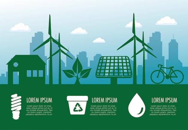 Banner di ecologia con energia eolica e solare sostenibile Vettore Premium