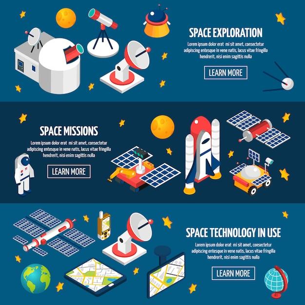Banner di esplorazione spaziale Vettore gratuito