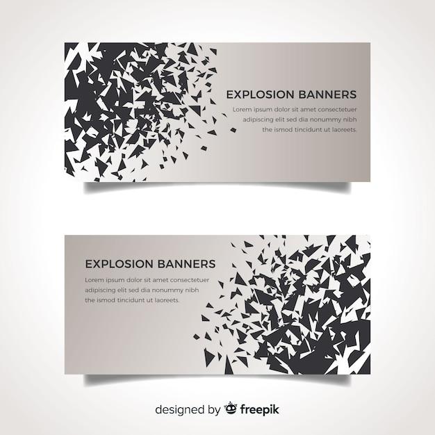 Banner di esplosione nera Vettore gratuito