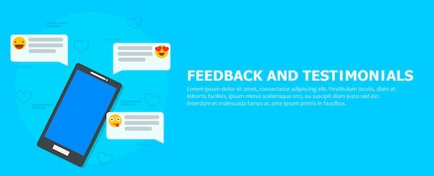 Banner di feedback e testimonianze. telefono con recensioni, emoticon e commenti. Vettore gratuito