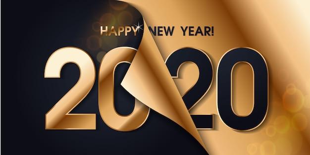 Banner di felice anno nuovo 2020 Vettore Premium