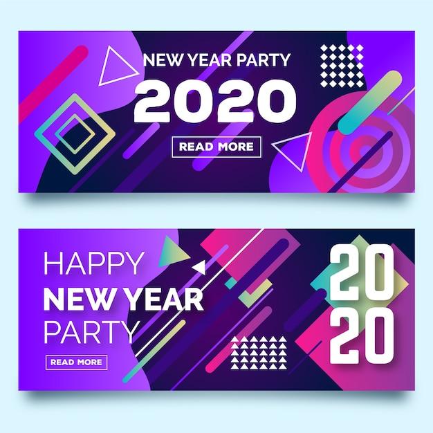 Banner di festa astratta di nuovo anno 2020 Vettore gratuito