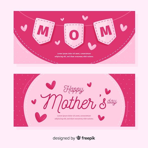 Banner di festa della mamma pennant disegnato a mano Vettore gratuito