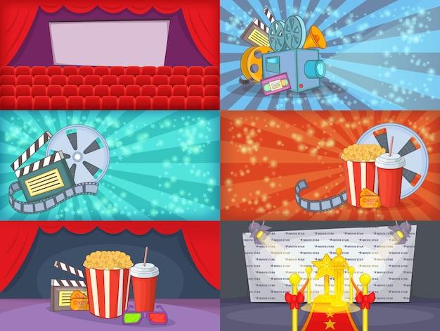 Banner di film cinema impostato orizzontale in stile cartone animato per qualsiasi progetto Vettore Premium