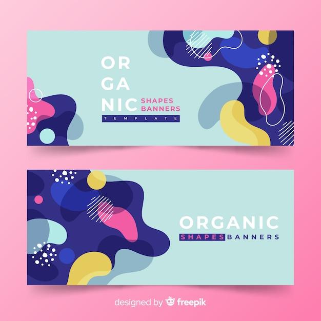 Banner di forme organiche astratte Vettore gratuito