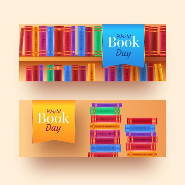 Banner di giornata del libro del mondo realistico Vettore gratuito