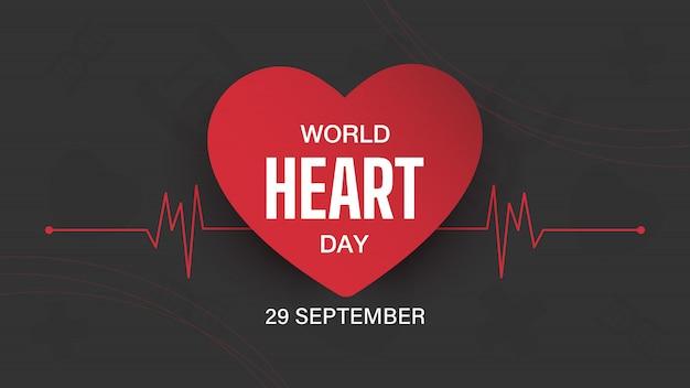 Banner di giornata mondiale del cuore desing. Vettore Premium