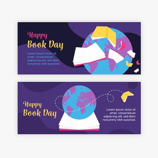 Banner di giornata mondiale del libro in design piatto Vettore gratuito