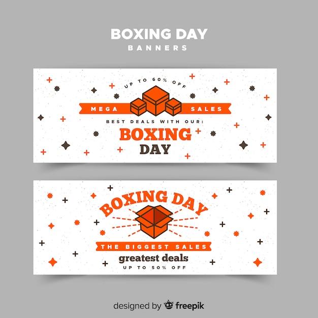 Banner di giorno di boxe di scatole piatte Vettore gratuito