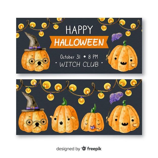 Banner di halloween ad acquerello con zucche Vettore gratuito